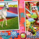 Mommy and Baby Farm Horses - Ice Cream Parlor - 100 Piece Puzzle SET of 2