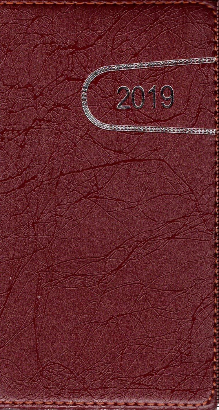 Burgundy - 2019 Pocket Planner/Calendar / Organizer - Weekly Page Format