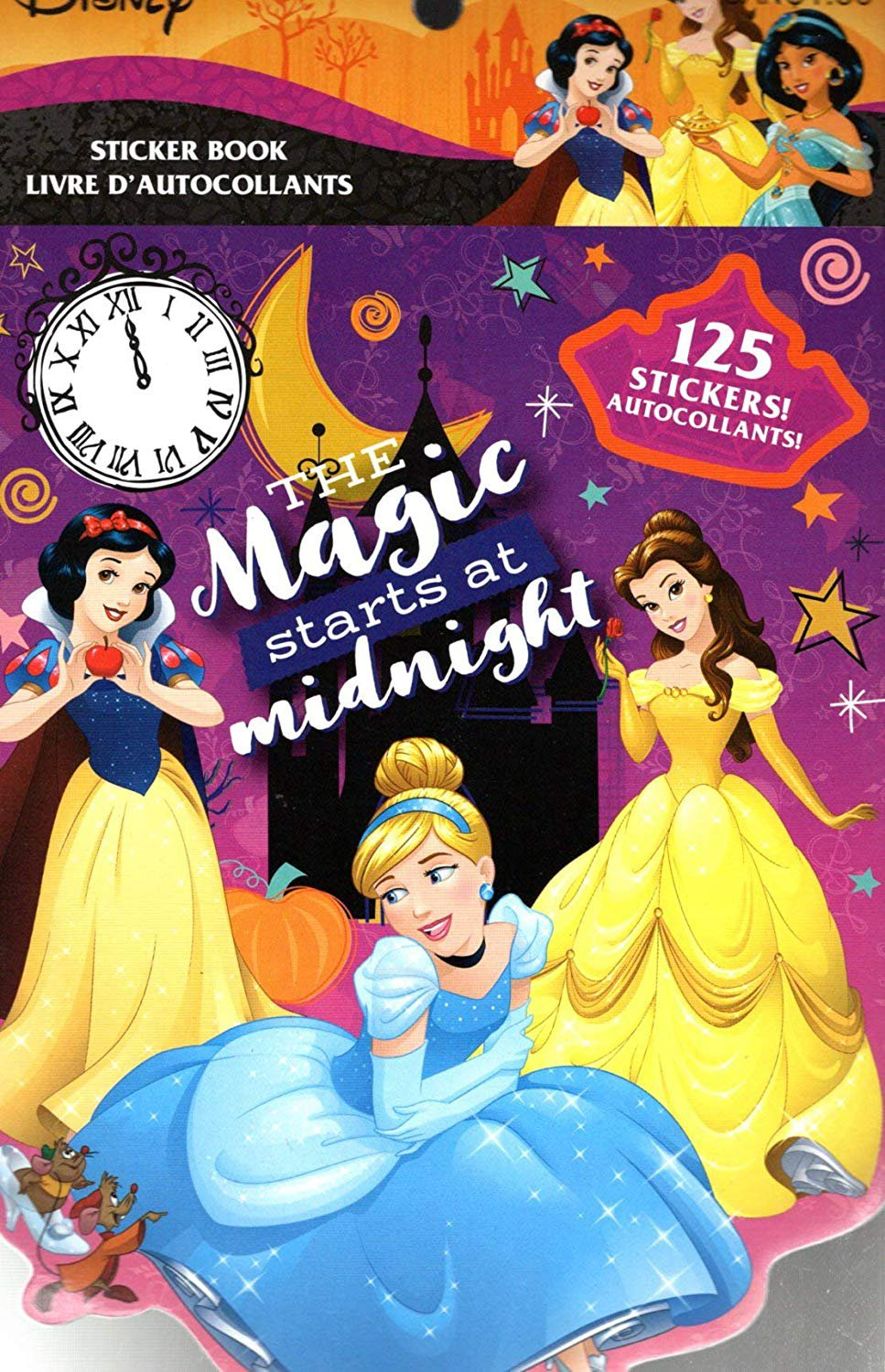 Disney Princess Stickers Book - The Magic Starts at Midnight - 125 Stickers - Halloween Themed