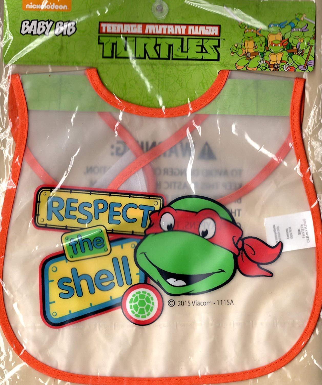 Teenage Mutant Ninja Turtles Baby Bib Respect The Shell 100% PEVA Velcro Closure Toddler Pack Of 2