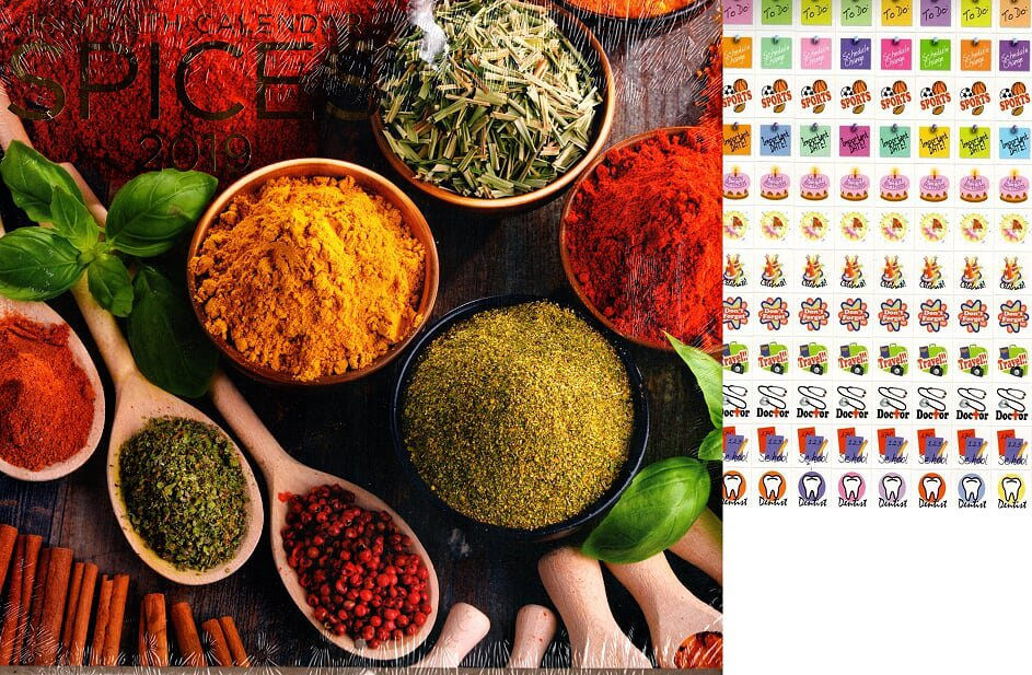 16 Month 2019 Wall Calendar - Spices with 120 Reminder Stickers
