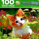 Cute Kitten in The Flowers - PuzzleBug - 100 Piece Jigsaw Puzzle