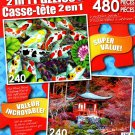 Koi Pond - Red Autumn Leaves and Temple, Japan - Total 480 Piece 2 in 1 Jigsaw Puzzles
