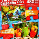 The Oasis - Parrots Larry, Moe, and Curly - Total 480 Piece 2 in 1 Jigsaw Puzzles