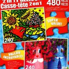 LPF Summer Sunflowers - Funny Flower Pots - Total 480 Piece 2 in 1 Jigsaw Puzzles