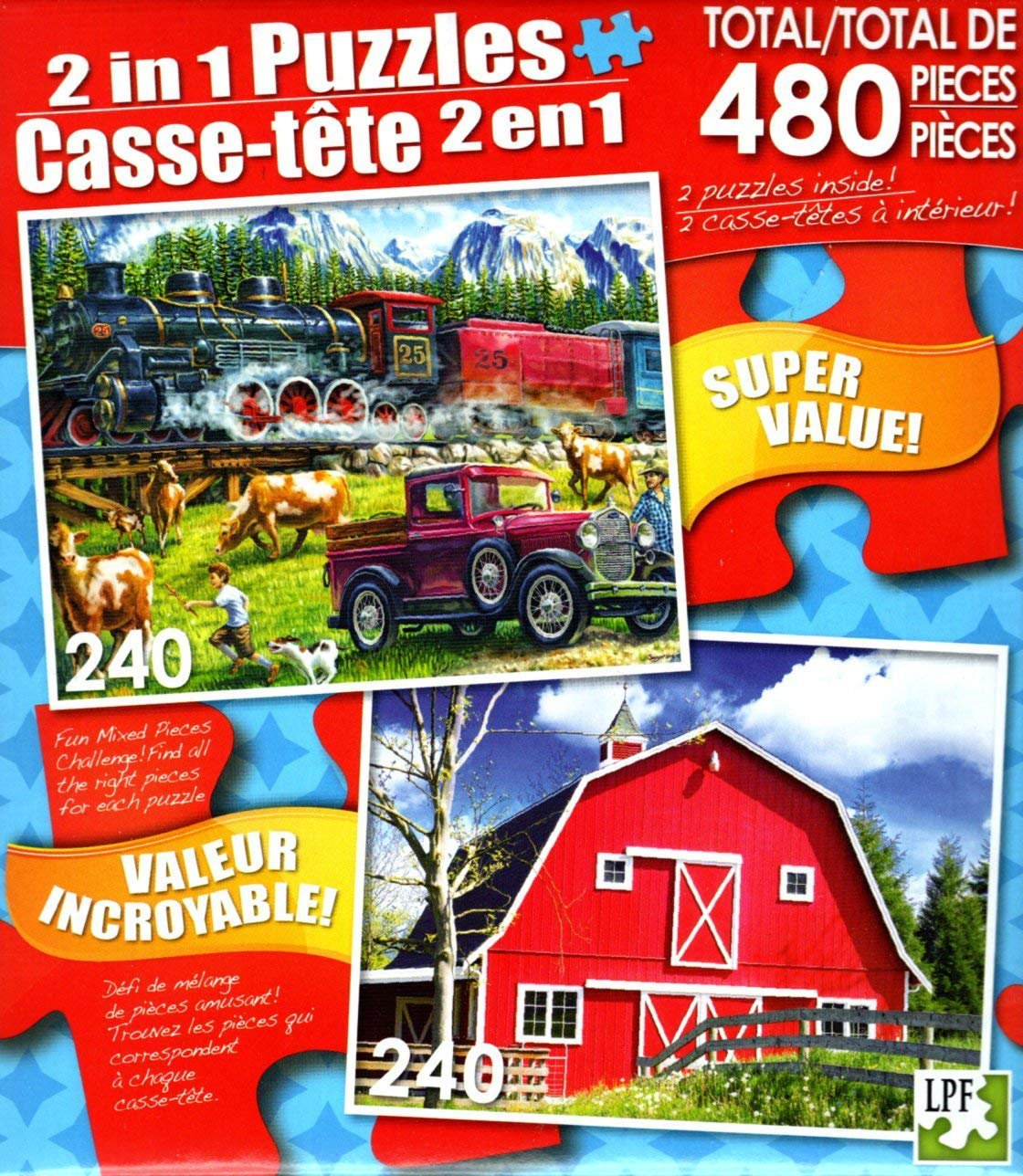 LPF Great Western Train - Big Red Country Barn - Total 480 Piece 2 in 1 Jigsaw Puzzles