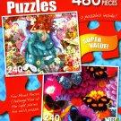LPF Summer Flower Fairy - Tropical Butterflies and Dahlias - Total 480 Piece 2 in 1 Jigsaw Puzzles