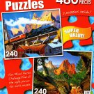 West Mountain Lumber Train - South Gateway, Colorado Springs - 480 Piece 2 in 1 Puzzles