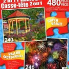 LPF Gazebo at Chautauqua - Colorful Fireworks - Total 480 Piece 2 in 1 Jigsaw Puzzles