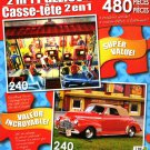 LPF Public Television - 1941 Red Chevy Convertible - Total 480 Piece 2 in 1 Jigsaw Puzzles