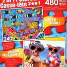 LPF Angelfish Family - Two Funny Dogs - Total 480 Piece 2 in 1 Jigsaw Puzzles