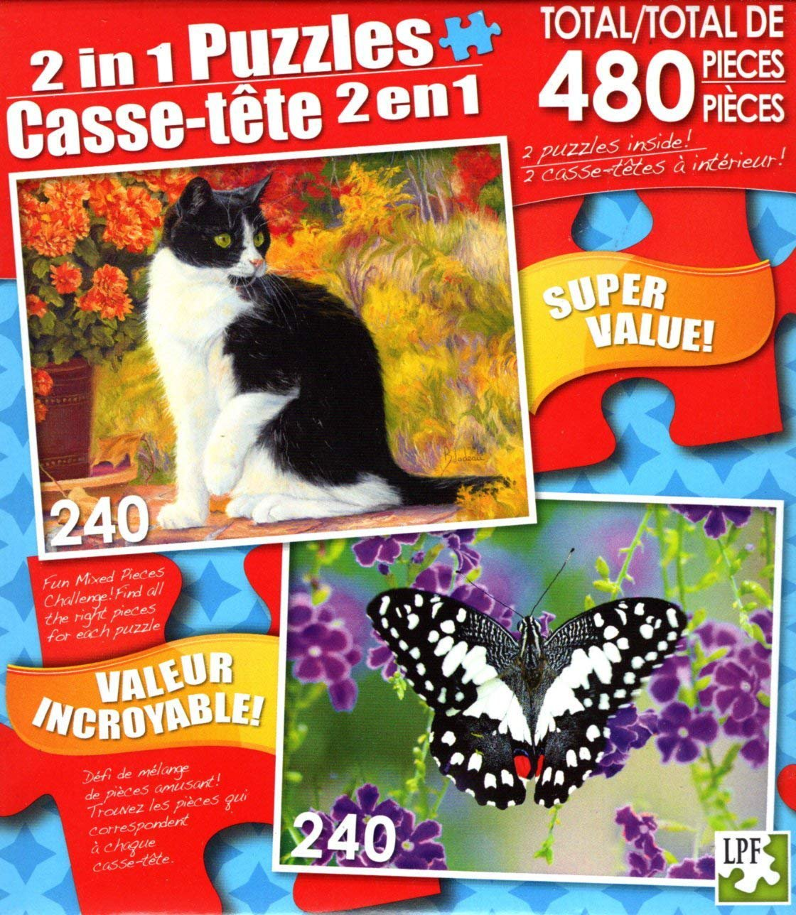 LPF Looking Afar - Butterfly on Violet Flowers - Total 480 Piece 2 in 1 Jigsaw Puzzles