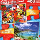 LPF Heads Up - Waikiki Beach and Diamond Head - Total 480 Piece 2 in 1 Jigsaw Puzzles