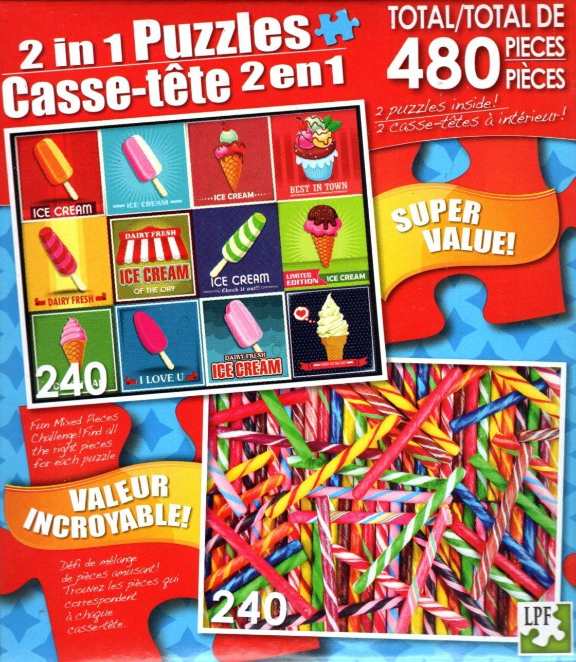 LPF Vintage Ice Cream - Colorful Candy Sticks - Total 480 Piece 2 in 1 Jigsaw Puzzles