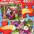 Little Cottage in The Woods - Summer Flowers - Total 480 Piece 2 in 1 Jigsaw Puzzles