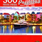 Tropical Caribbean Harbor Marina in Morning Light w/Boats and Pastel Houses - 300 Pieces Puzzle