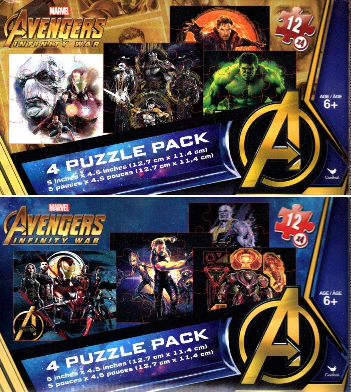 Marvel Avengers Infinity War - 4 Puzzle Pack - 12 Piece Jigsaw Puzzle - (Bundle of 2-4 Puzzle Packs)