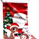 "lpf Rudolph The Red-Nosed Reindeer - 18"" Full Printed Satin Christmas Stocking with Plush Cuff - v4"