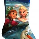 "Disney Frozen Anna Elsa Olaf Full Print 20"" Satin Christmas Holiday Stocking -v2"