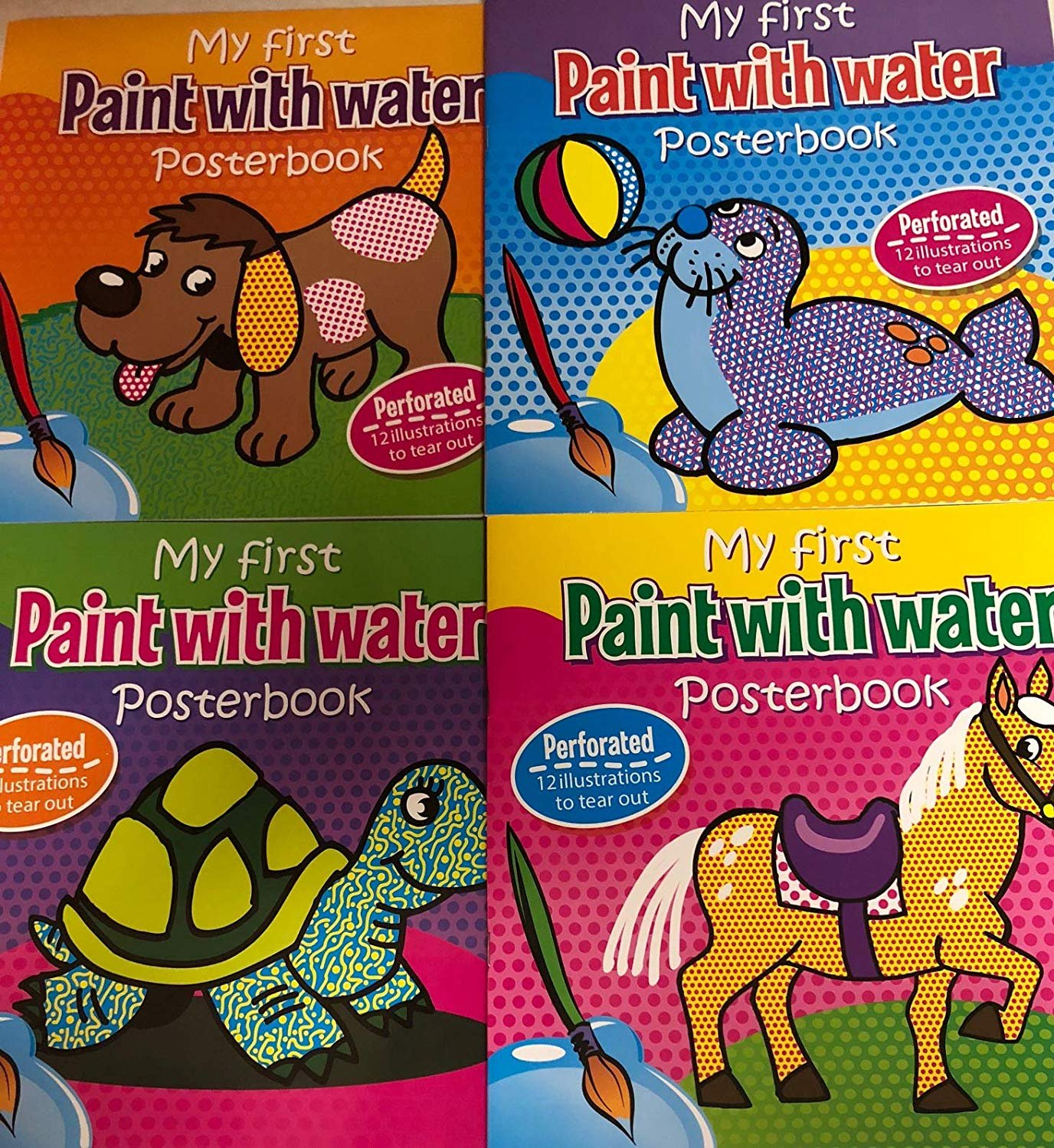 My First Paint with Water POSTERBOOK (Perforated Pages) Bundle of 4