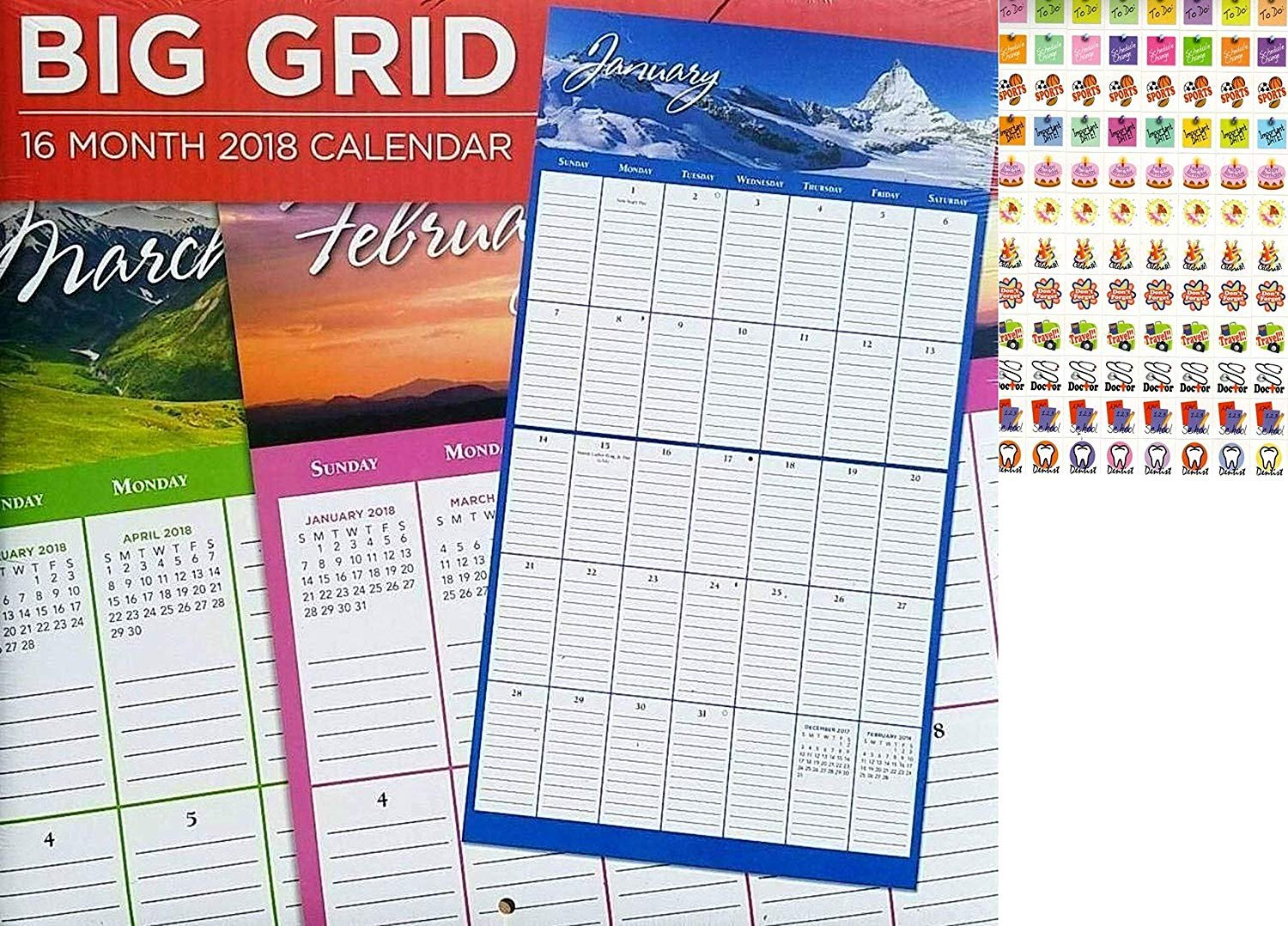 16 Month 2019 Wall Calendar - Big Grid - Each Month Displays Full-Color Photograph + 120 Stickers