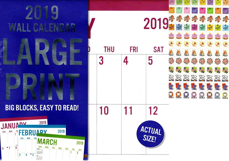 Vista Large Print - 12 Month 2019 Wall Calendar - Big Blocks Easy to Read (Blue) + 120 Stickers (1)