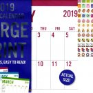 Vista Large Print - 12 Month 2019 Wall Calendar - Big Blocks Easy to Read (Blue) + 120 Stickers (1)