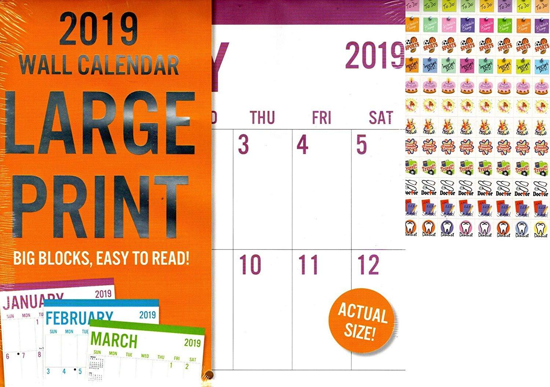 Vista Large Print - 12 Month 2019 Wall Calendar - Big Blocks Easy to Read (Honey) + 120 Stickers (4)