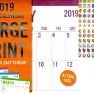 Vista Large Print - 12 Month 2019 Wall Calendar - Big Blocks Easy to Read (Honey) + 120 Stickers (4)