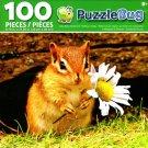 Puzzlebug Cute Baby Chipmunk Holding a Daisy 100 Piece Jigsaw Puzzle