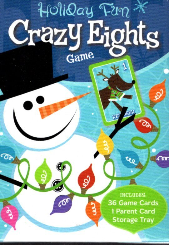 Holiday Fun - Crazy Eights Game - Christmas Playing Cards Game