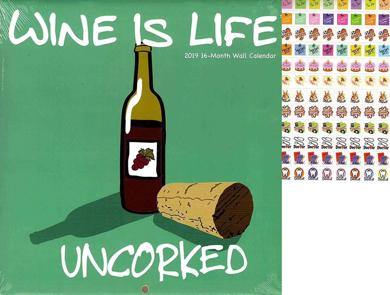 Vista 2019 Wine is Life - 16 Month Wall Calendar + 120 Reminder Stickers