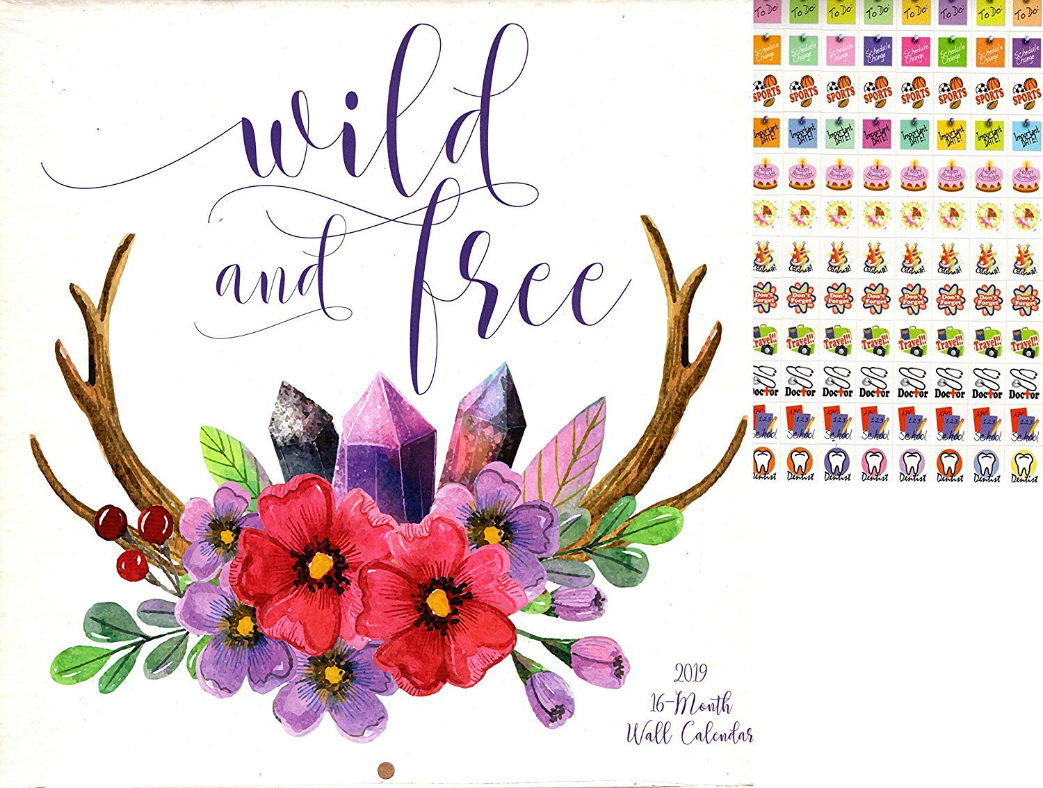 Vista 2019 Wild and Free - 16 Month Wall Calendar + 120 Reminder Stickers