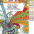 Music - 16 Month 2019 Adult Coloring Wall Calendar - with 120 Reminder Stickers