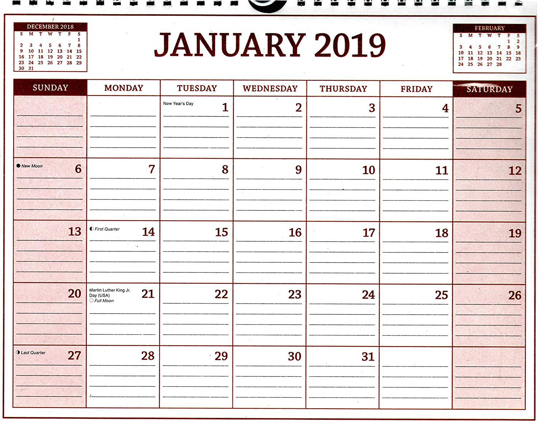 2019 Spiral Bound Calendar (Essentials 2019 Calendar Collection) - 12 Months Desktop - (Edition #1)