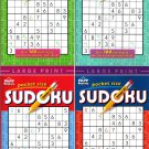 Large Print Pocket Size Sudoku Puzzles - Over 100 Challenging Puzzles  - Vol.1-4