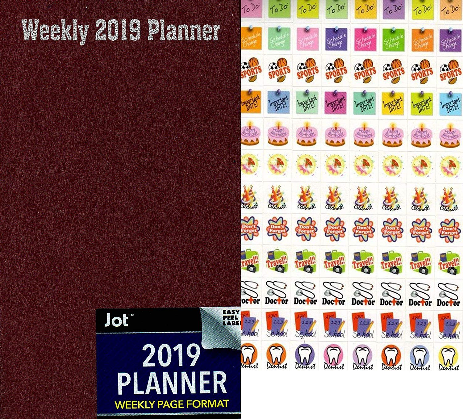 2019 Weekly Pocket Appointment Planner/Calendar/Organizer - Color (Burgundy) - with 120 Stickers