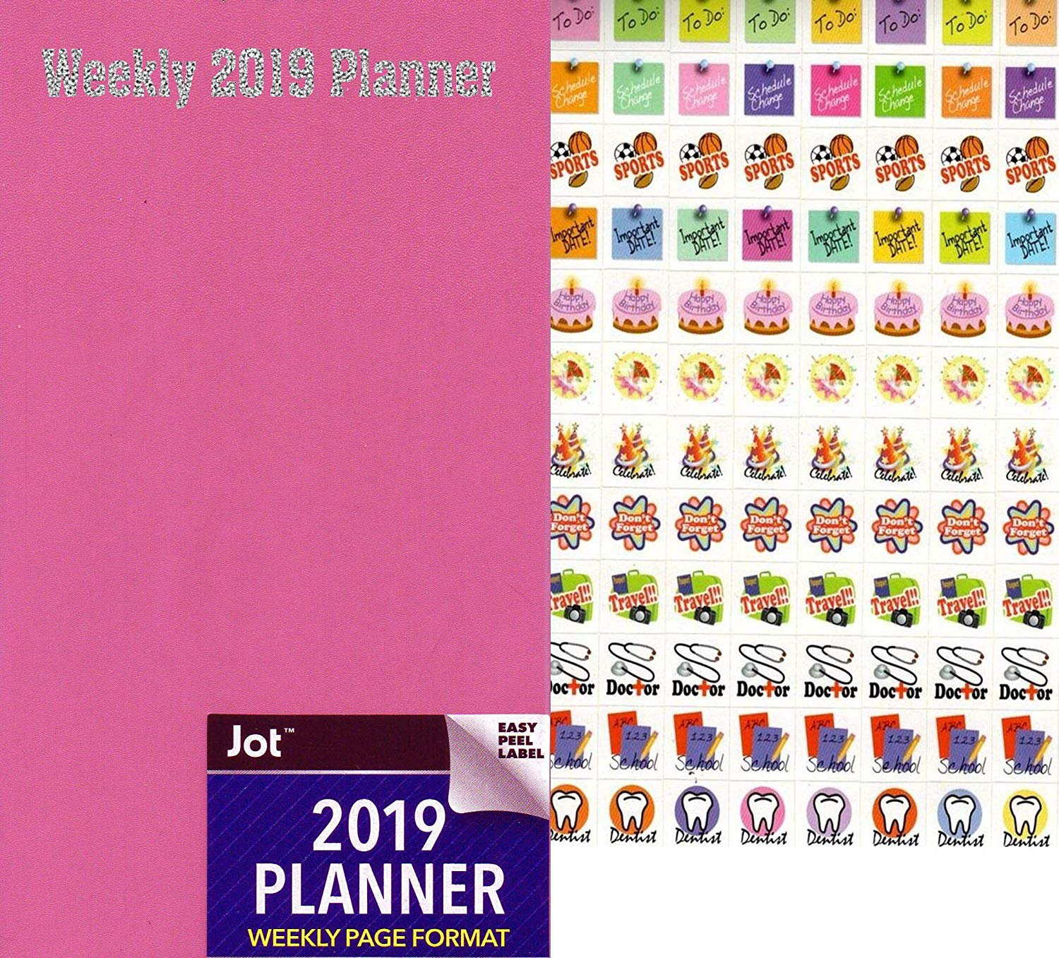2019 Weekly Pocket Appointment Planner/Calendar/Organizer - Color (Pink) - with 120 Stickers