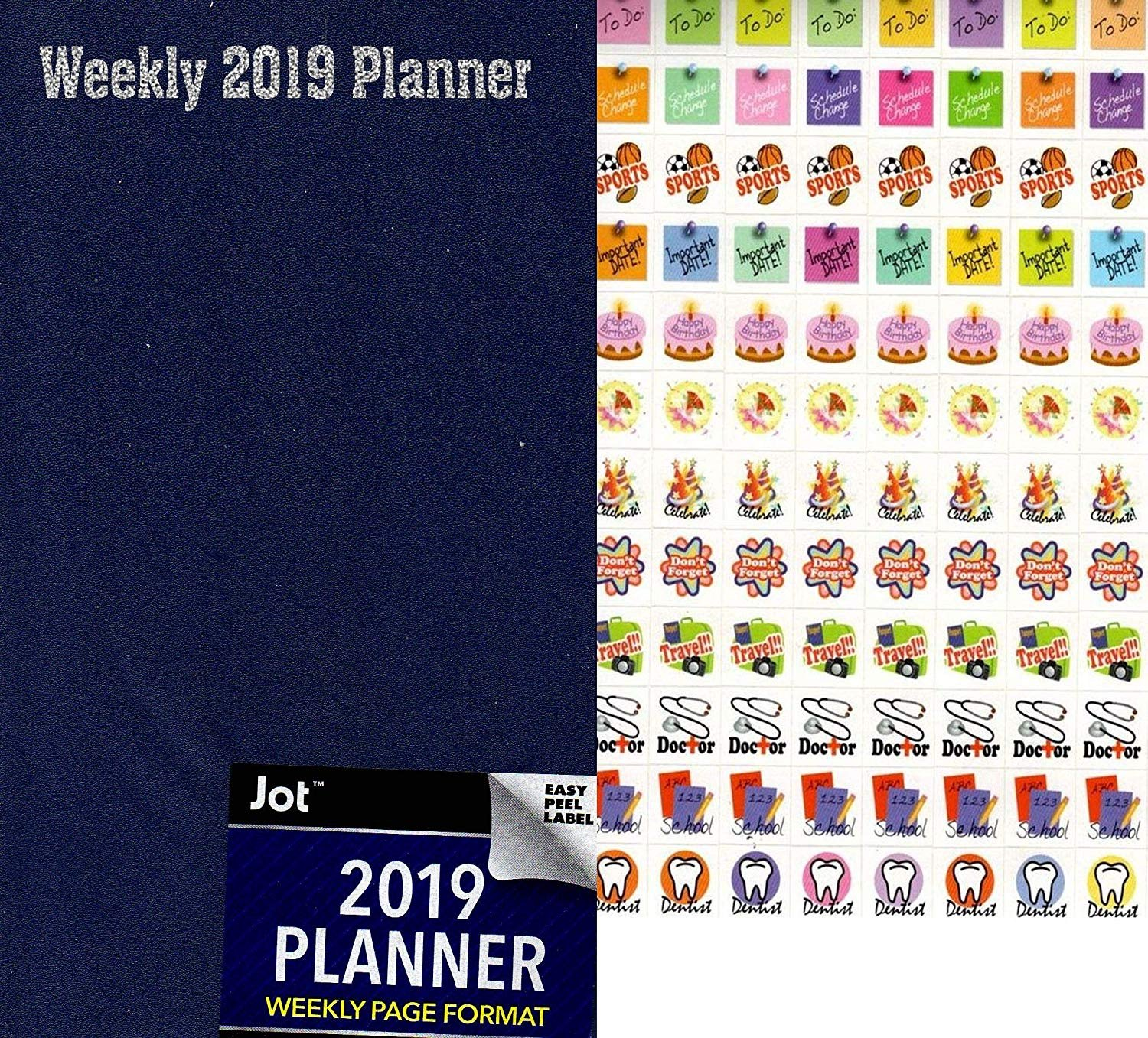 2019 Weekly Pocket Appointment Planner/Calendar/Organizer - Color(Navy Blue) - with 120 Stickers
