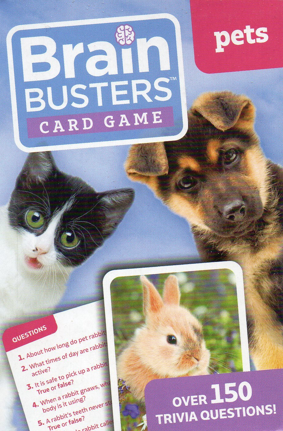 Brain Busters Card Game - Pets - with Over 150 Trivia Questions - Educational Flash Cards