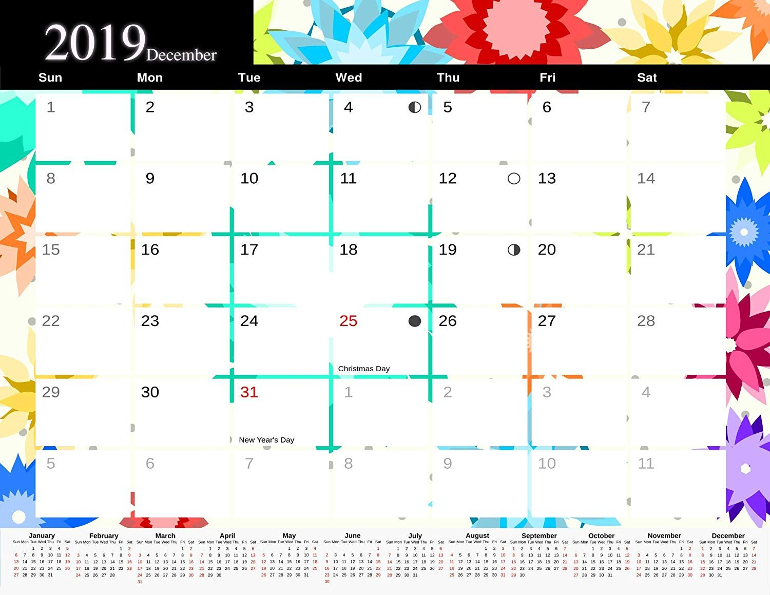 2019 Monthly Magnetic/Desk Calendar - 12 Months Desktop/Wall Calendar/Planner - (Edition #8)