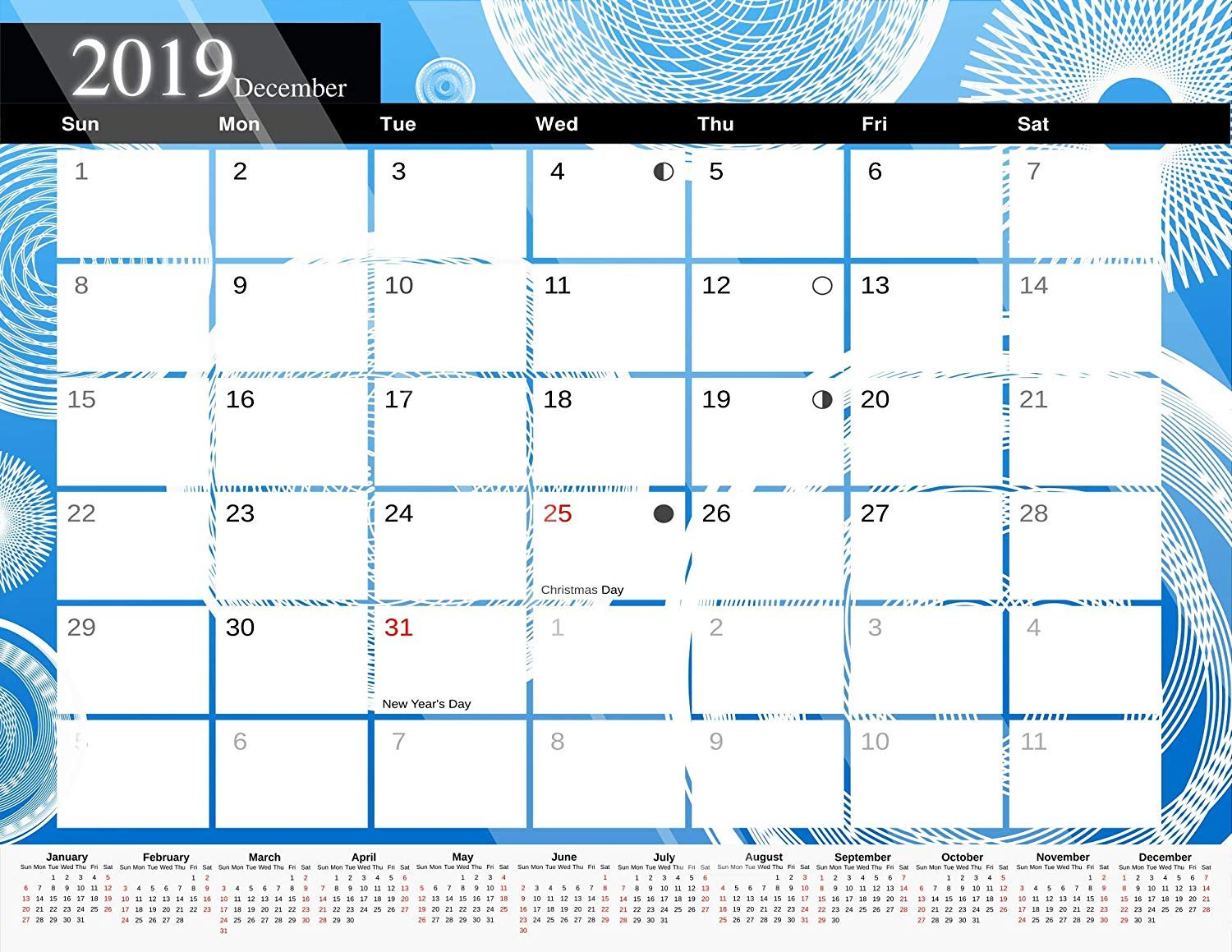 2019 Monthly Magnetic/Desk Calendar - 12 Months Desktop/Wall Calendar/Planner - (Edition #10)
