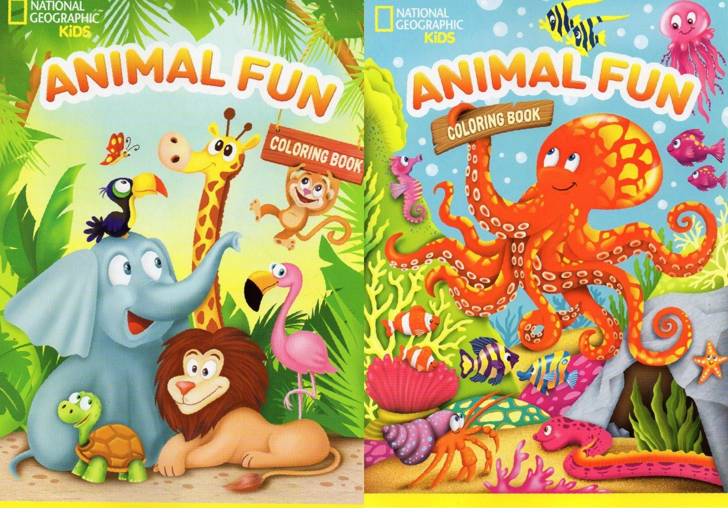 National Geographic Kids - Animal Fun - Coloring Book - Set of 2 Books