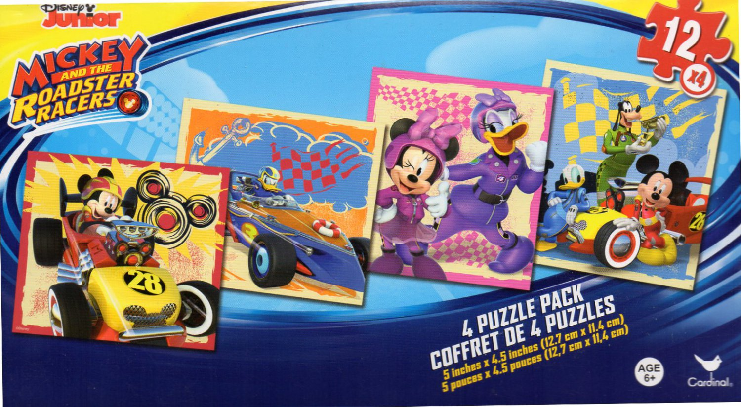 Mickey and the Roadster Racers - 4 Puzzle Pack - 12 Piece Jigsaw Puzzle (Set of 4 Different Puzzles)