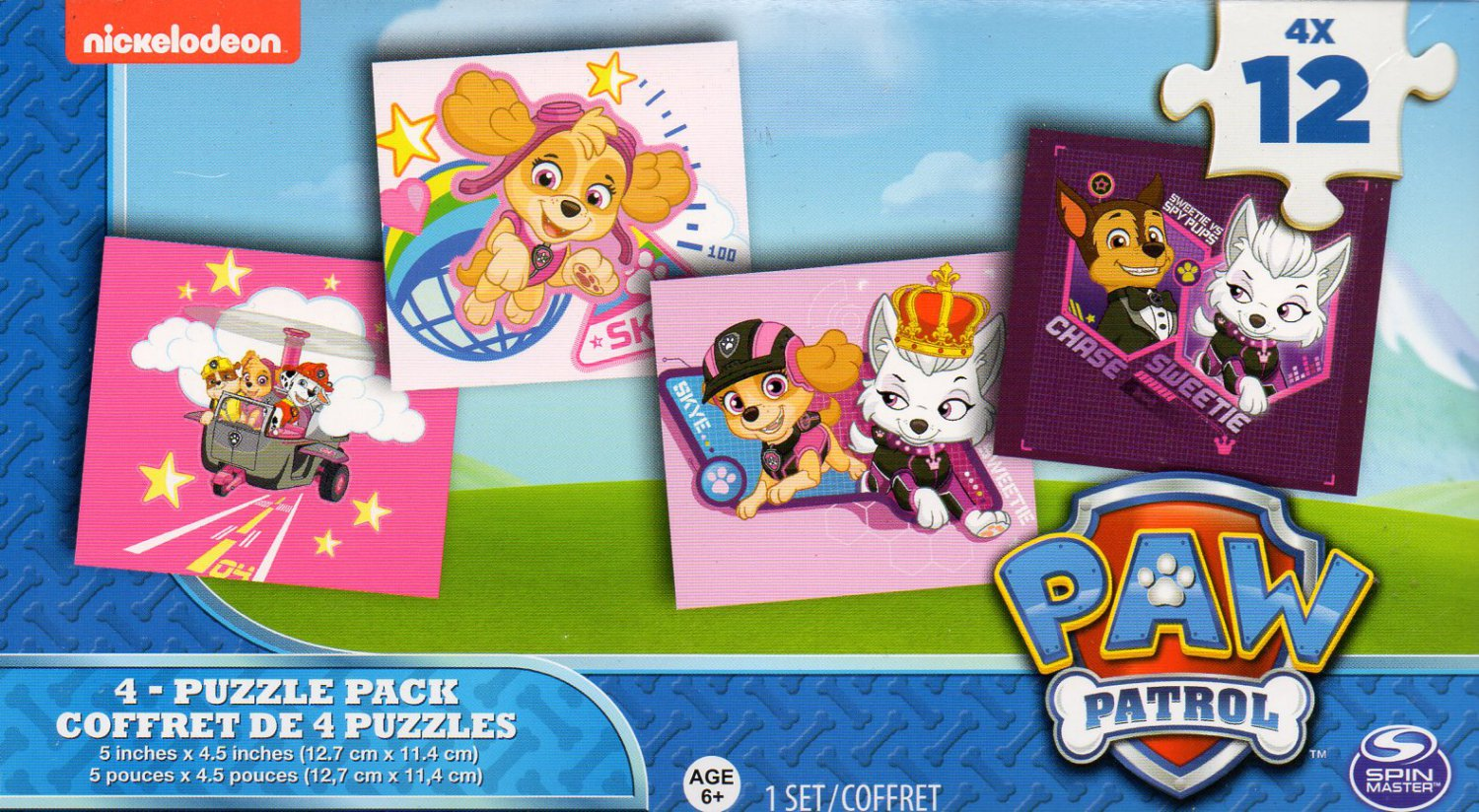 Nickelodeon Paw Patrol - 4 Puzzle Pack - 12 Piece Jigsaw Puzzle (Set of 4 Different Puzzles)