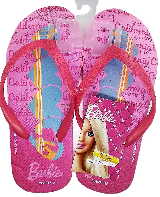 Barbie Flip Flops Sandals - Size L 12-13 (Kids)