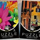 Cardinal Vibrant Colored 500PC Jigsaw Puzzle 2Pack - Bright Flowers & Canal Gondola