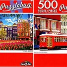New Orleans Bright Red Streetcar - Traditional Buldings - 500 Piece Jigsaw Puzzle (Set of 2)