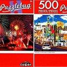 Motel Signs on Fremont Street, Las Vegas - Amazing Fireworks - 500 Piece Jigsaw Puzzle (Set of 2)