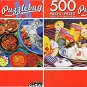 Colorful Mexican Food - Tabby Kitten Sleeping - 500 Piece Jigsaw Puzzle (Set of 2)